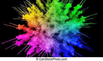 arc-en-ciel, tout, lent, trails., fond, explosion, peintures, feux artifice, motion., juteux, isolé, couleurs, air, noir, poudre, ink., 69, créatif, coloré, ou, gentil
