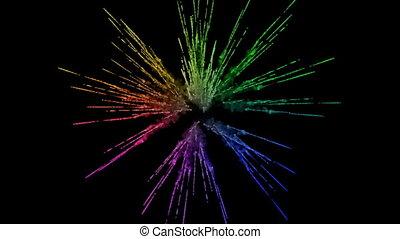 arc-en-ciel, tout, lent, trails., fond, explosion, peintures, feux artifice, motion., juteux, isolé, couleurs, air, noir, poudre, ink., 5, créatif, coloré, ou, gentil