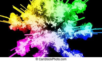 arc-en-ciel, tout, lent, trails., fond, isolé, feux artifice, motion., juteux, 43, couleurs, air, noir, poudre, ink., peintures, explosion, créatif, coloré, ou, gentil
