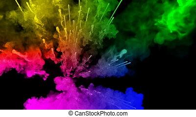 arc-en-ciel, tout, lent, trails., fond, peintures, feux artifice, motion., 28, juteux, isolé, couleurs, air, noir, poudre, ink., explosion, créatif, coloré, ou, gentil