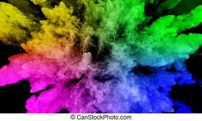 arc-en-ciel, tout, lent, trails., fond, peintures, feux artifice, motion., juteux, 40, isolé, couleurs, air, noir, poudre, ink., explosion, créatif, coloré, ou, gentil