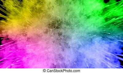 arc-en-ciel, tout, lent, trails., fond, peintures, feux artifice, motion., juteux, 53, isolé, couleurs, air, noir, poudre, ink., explosion, créatif, coloré, ou, gentil