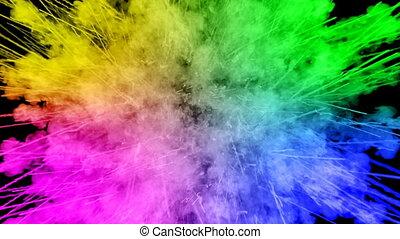 arc-en-ciel, tout, lent, trails., fond, peintures, feux artifice, motion., juteux, isolé, 59, couleurs, air, noir, poudre, ink., explosion, créatif, coloré, ou, gentil