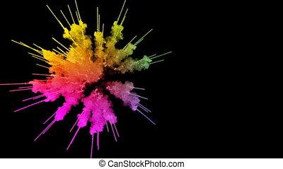 arc-en-ciel, tout, lent, trails., fond, peintures, feux artifice, motion., juteux, isolé, couleurs, air, noir, poudre, ink., 9, explosion, créatif, coloré, ou, gentil