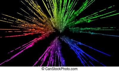 arc-en-ciel, tout, lent, trails., fond, peintures, feux artifice, motion., juteux, isolé, couleurs, air, noir, poudre, ink., 6, explosion, créatif, coloré, ou, gentil