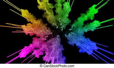arc-en-ciel, tout, lent, trails., fond, peintures, feux artifice, motion., juteux, isolé, ou, couleurs, air, noir, poudre, ink., explosion, créatif, coloré, 13, gentil