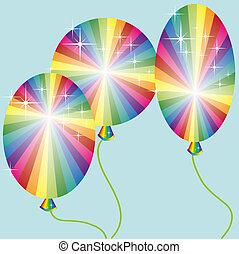 arc-en-ciel, trois, coloré, ballons