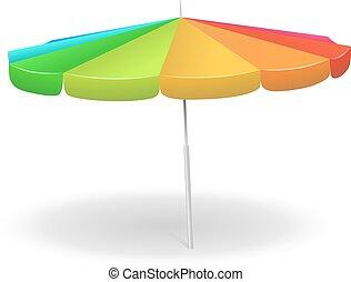 arc-en-ciel, umbrella., plage, coloré