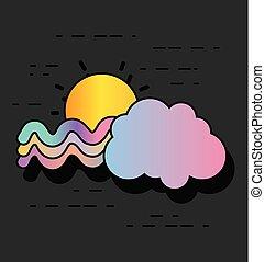 arc-en-ciel, vagues, conception, nuage, soleil