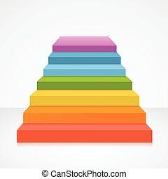 arc-en-ciel, vecteur, escalier, colors.