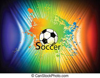 arc-en-ciel, vecteur, fond, encre, football, ball.