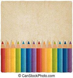 arc-en-ciel, vieux, arrière-plan coloré, crayons
