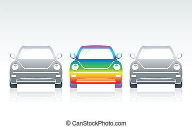 arc-en-ciel, voiture