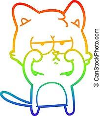 arc-en-ciel, yeux, fatigué, gradient, frottement, chat, dessin ligne, dessin animé