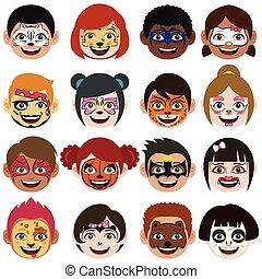 arc, festett, gyerekek, ábra