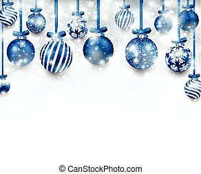 arc, fond, à, bleu, noël, balls.