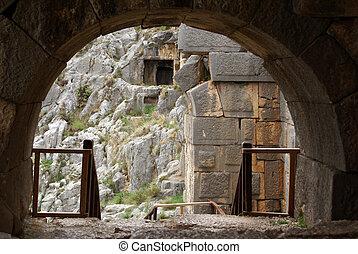 Arc in old theater in Myra, Turkey