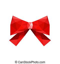 arc, isolé, illustration, fond, origami, blanc rouge