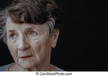 arc, közül, egy, öreg woman