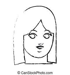 arc, közül, kisasszony, ikon, kép