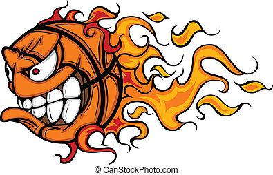 arc, kosárlabda, lángoló, karikatúra