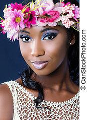 arc, lövés, közül, fiatal, afrikai, menyasszony, noha, virágos, crown.