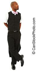 arc, noir, séduisant, complet, cravate, homme