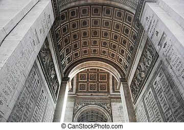 Arc of triumph from bottom, Paris, France.