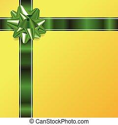 arc or, arrière-plan vert, noël, ruban