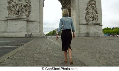 arc, paris, dame, triomphe, de, caucasien, |, marche