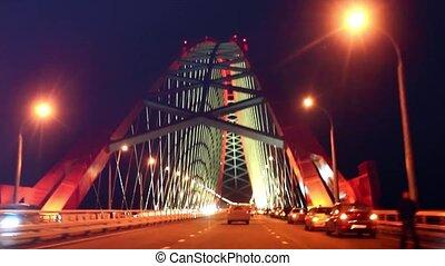 arc pont, rouges, nuit