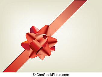 arc, rouges, cadeau, ruban