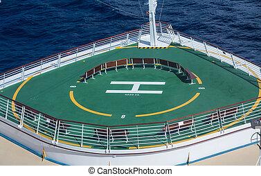 arc, tampon, croisière, vert, bateau, hélicoptère