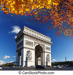 arc triomphe, dans, paris, france