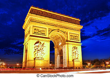 arc triomphe, dans, paris., france