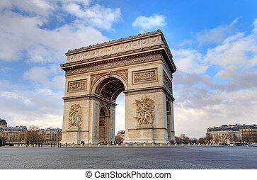 arc triomphe, paris, ville, à, jour