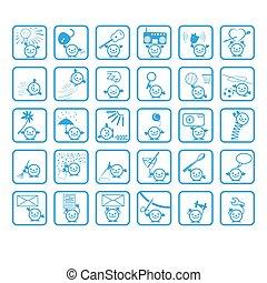 arc, vektor, emberek, karikatúra, ikonok
