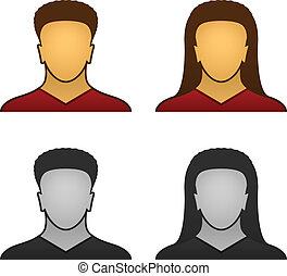 arc, vektor, hím, női, ikonok