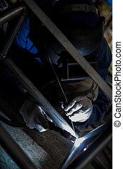 Arc welder with welding sparks