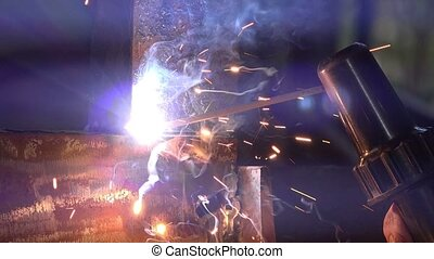Arc welding close up