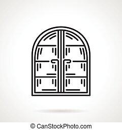 Arc window black line vector icon