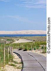 French seascape. View on Arcachon Bay and the famous sand dune name Pilat or Pyla in the background