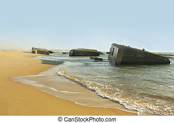 Arcachon beach of la pointe with bunkers of second word war