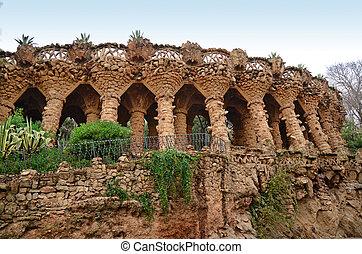 arcada, de, pedra, colunas, parque, guell