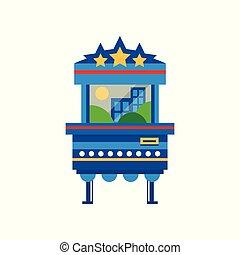 arcada, isolado, ilustração, máquina, jogo, vetorial, fundo, branca