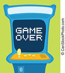 arcada, mostrando, máquina, jogo, mensagem, sobre