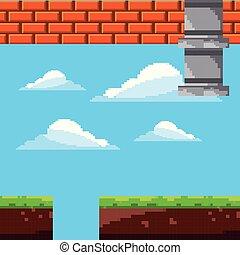arcada, nível, cena, jogo, retro, pixel