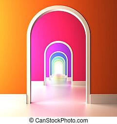 arcade, à, les, coloré, future.