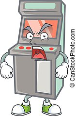 Arcade game machine cartoon character design with angry face