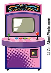 Arcade game machine in purple box illustration
